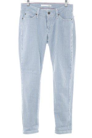 Mac Skinny Jeans weiß-kornblumenblau Streifenmuster Casual-Look