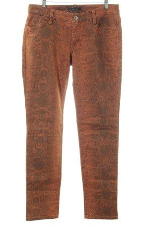 Mac Slim Jeans hellorange-braun Allover-Druck Casual-Look
