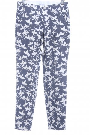 Mac Stoffhose weiß-graublau Blumenmuster Casual-Look