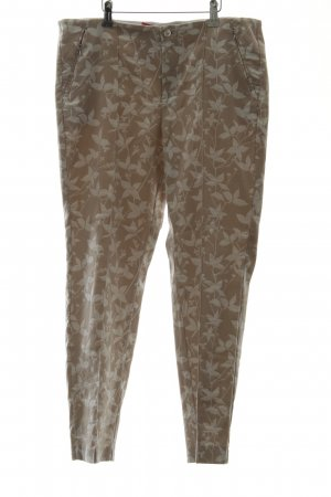Mac Stretch broek beige-wit bloemenprint casual uitstraling