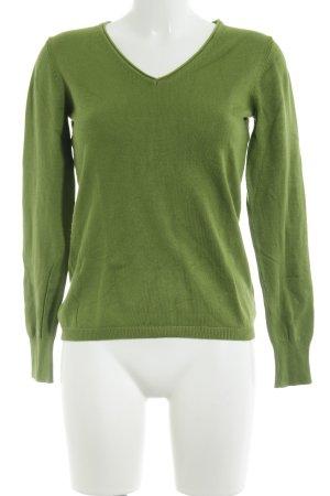 Mac V-Neck Sweater grass green casual look