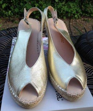 * MACARENA * NEU ! SANDALEN WEDGES ESPANDRILLES LEDER gold Gr 41