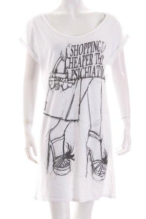 Macello Longshirt weiß-schwarz Schriftzug gedruckt Casual-Look