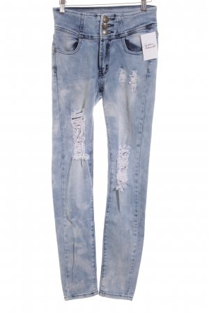Machine Skinny Jeans hellblau Destroy-Optik