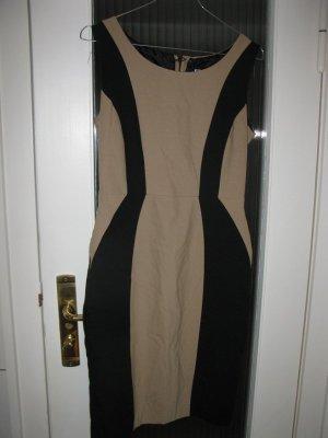 macht optisch eine Gute Figur - Camel-schwarz farbenes Kleid, D36