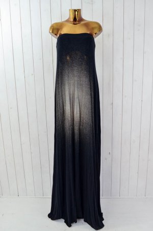 MACQUA Damen Kleid Viskosegemisch Schwarz Gold Lang Bandeau Gr.L Neu!