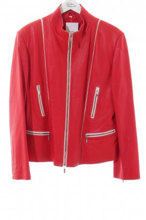 Maddox Giacca in pelle rosso-bianco stile casual