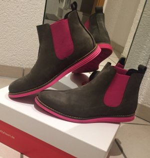 Made by Heart Chelsea Boots dark grey-pink leather