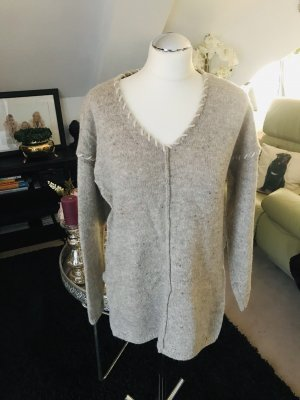 Made in Italy Pull en laine beige clair-gris brun