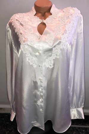 Made in Italy Bluse gr 50 Satin Spitze Strass