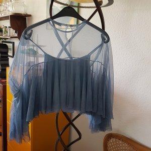 """Made in Italy"" Bluse taubenblau Netz Tüll GrS *TOP*"