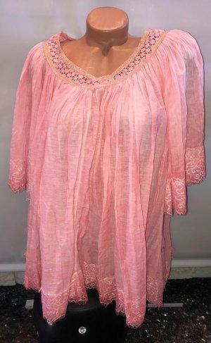 Made in Italy Blusa in merletto rosa pallido Tessuto misto
