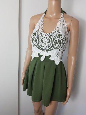 Made in Italy Damen Jumpsuit Onesie Einteiler mit Spitze khaki weiß Größe 36 38