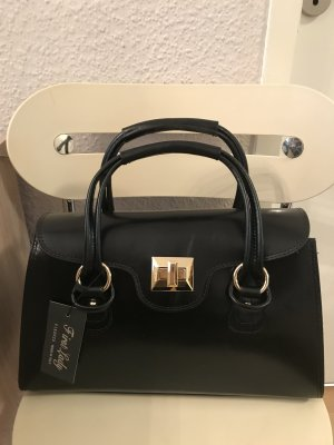 Made in Italy♥ Designer Leder Henkeltasche SCHWARZ Neu mit Etikett