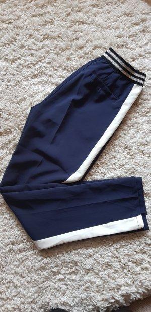 Made in Italy Pantalon blanc-bleu foncé