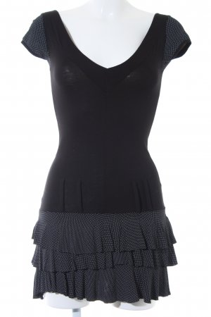 Made in Italy Kapuzenkleid schwarz-weiß Punktemuster Elegant