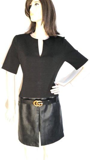 0039 Italy Robe mi-longue noir polyuréthane
