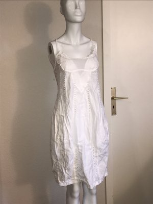 Made in Italy Kleid XS 34 weiß Sommerkleid leicht ballonkleid