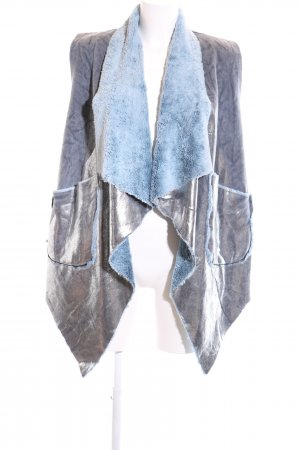 Made in Italy Fake Fur Vest blue-silver-colored abstract pattern