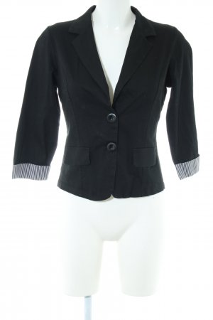 Made in Italy Kurz-Blazer schwarz-weiß Streifenmuster Business-Look