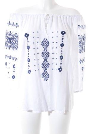 Made in Italy Langarm-Bluse weiß-dunkelblau florales Muster klassischer Stil