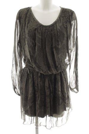 Made in Italy Vestido de manga larga caqui-taupe estampado abstracto look casual