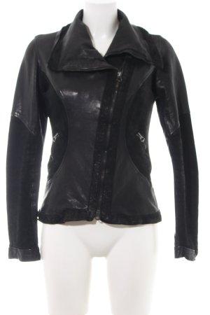 Made in Italy Lederjacke schwarz Elegant