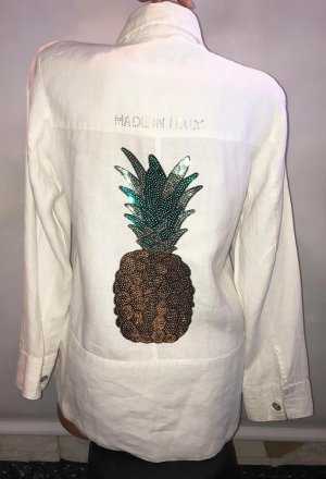 Made in Italy Leinen Hemd Jacke in gr M Ananas Strass
