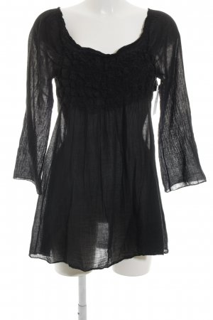 Made in Italy Long-Bluse schwarz Romantik-Look