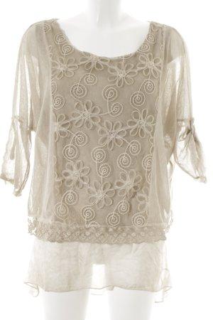 Made in Italy Lang shirt beige bloemenprint simpele stijl