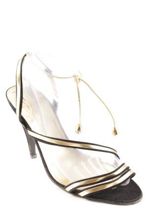 Made in Italy Sandalen met bandjes goud-zwart elegant