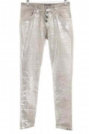 Made in Italy Pantalon strech argenté-beige clair style extravagant