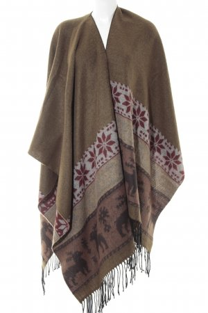Made in Italy Strickponcho abstraktes Muster Kuschel-Optik