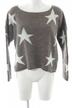 Made in Italy Strickpullover graubraun-weiß Sternenmuster Casual-Look