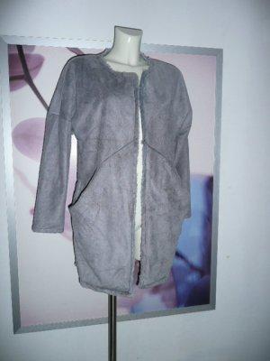 Made in Italy stylisher Kurz Mantel in Wildlederoptik Grau Gr 38-40