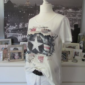 Made in Italy * Süßes Sommer Shirt * offwhite Sternenprint Glitzernieten * L/XL=42/44