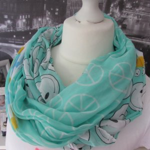 Made in Italy Halsdoek wit-turkoois
