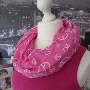 Made in Italy * %Summer SALE% Süßer Sommer Schal Tuch Seide * pink-weiß Peace silk * onesize