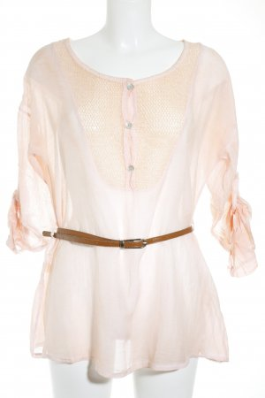 Made in Italy Transparenz-Bluse lachs-braun Glitzer-Optik