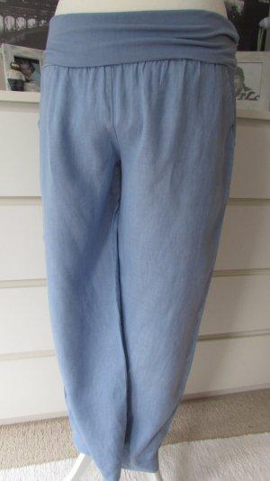 Made in italy* Traum Leinen Hose Marlene-Stil * meeresblau *42/44