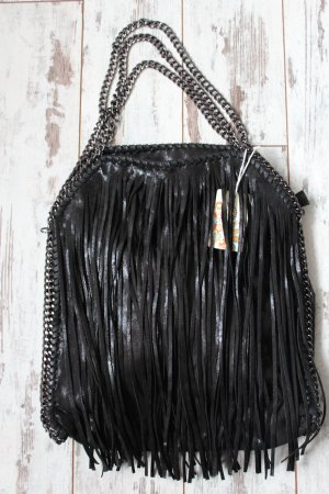 Made in Italy Bolso de flecos negro Imitación de cuero