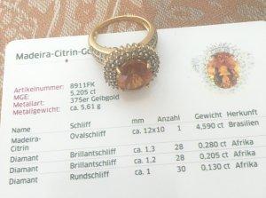 Madeira Citrin Goldring Gr. 57/58 neu