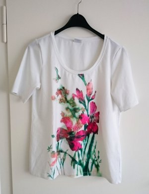 Madelaine T-Shirt Shirt Top weiß bedruckt blumen pink Gr. L