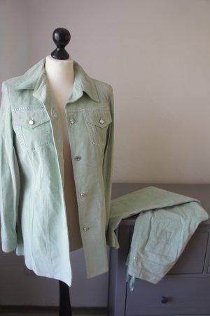 MADELEINE Anzug Leder Größe 36 mint green Kostüm Hose Blazer Jacke