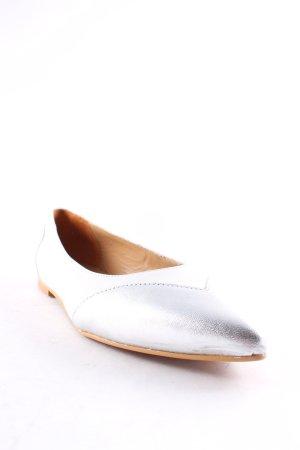 Madeleine Ballerinas mit Spitze weiß-silberfarben Business-Look