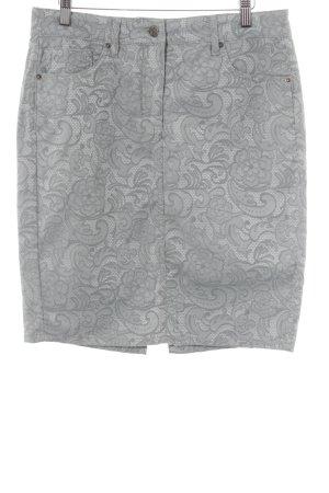 Madeleine Bleistiftrock wollweiß-graugrün florales Muster extravaganter Stil