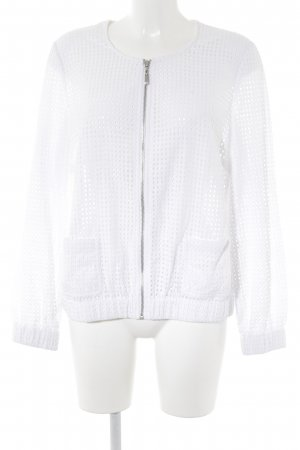 Madeleine Blouson white loosely knitted pattern casual look