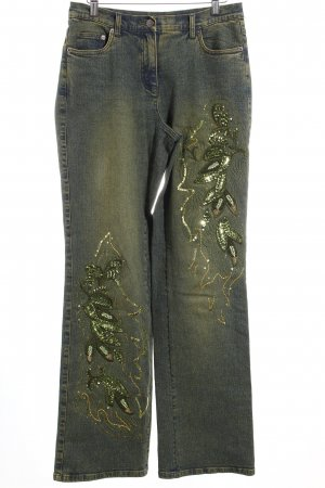 Madeleine Boot Cut Jeans dunkelblau-dunkelgrün extravaganter Stil