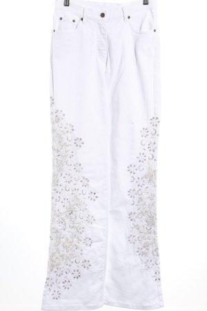 Madeleine Boot Cut Jeans weiß-silberfarben florales Muster extravaganter Stil