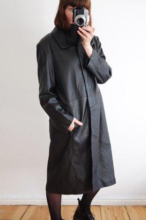 madeleine designer ledermantel maxicoat schwarz repitloptik S M